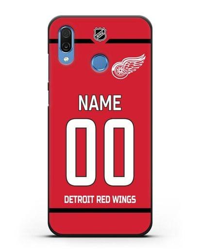 Чехол ХК Детройт Ред Уингз с фамилией и номером красная форма силикон черный для Honor Play