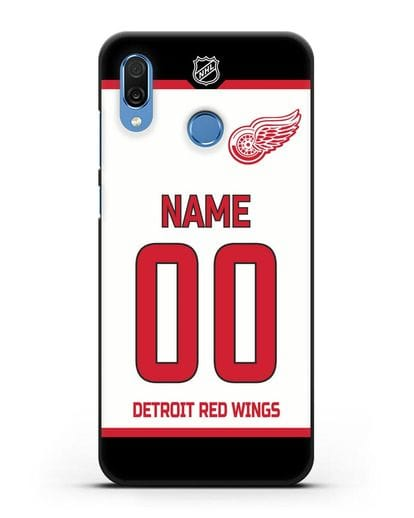 Чехол ХК Детройт Ред Уингз с фамилией и номером белая форма силикон черный для Honor Play