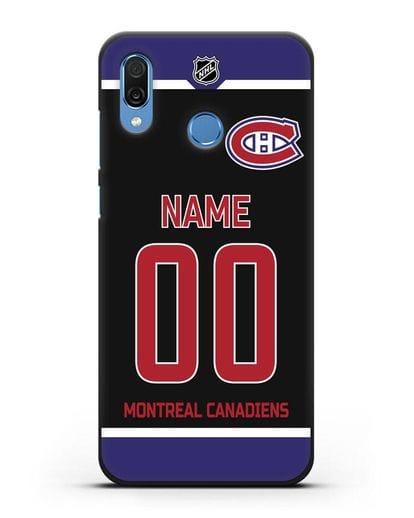 Чехол ХК Монреаль Канадиенс с фамилией и номером черная форма силикон черный для Honor Play