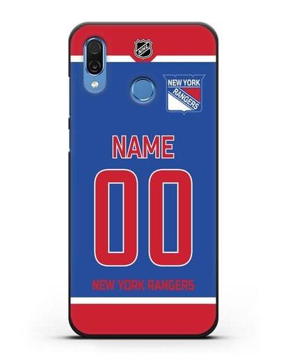 Чехол ХК Нью-Йорк Рейнджерс с фамилией и номером синяя форма силикон черный для Honor Play