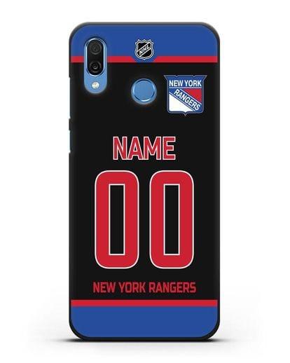 Чехол ХК Нью-Йорк Рейнджерс с фамилией и номером черная форма силикон черный для Honor Play