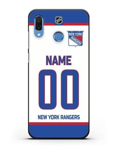 Чехол ХК Нью-Йорк Рейнджерс с фамилией и номером белая форма силикон черный для Honor Play
