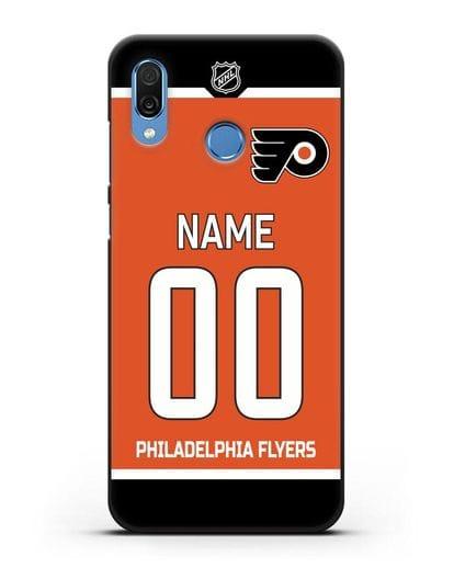 Чехол ХК Филадельфия Флайерз с фамилией и номером оранжевая форма силикон черный для Honor Play