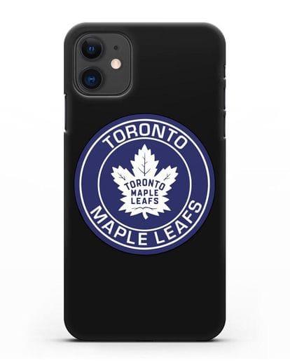 Чеxол с логотипом Toronto Maple Leafs силикон черный для iPhone 11
