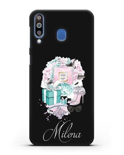 Именной чехол с иллюстрацией Тиффани силикон черный для Samsung Galaxy M30 [SM-M305F]
