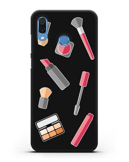 Чехол со стикерами Аксессуары визажиста силикон черный для Honor Play