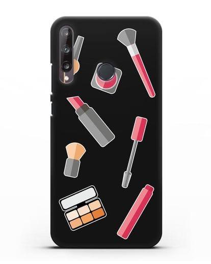 Чехол со стикерами Аксессуары визажиста силикон черный для Huawei P40 lite E