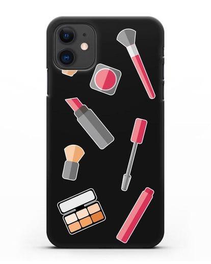 Чехол со стикерами Аксессуары визажиста силикон черный для iPhone 11