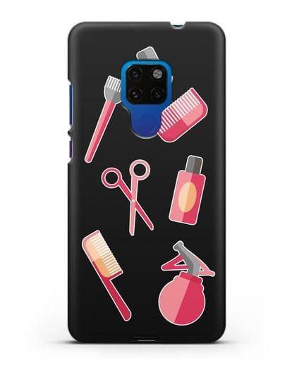 Чехол со стикерами Аксессуары парикмахера силикон черный для Huawei Mate 20