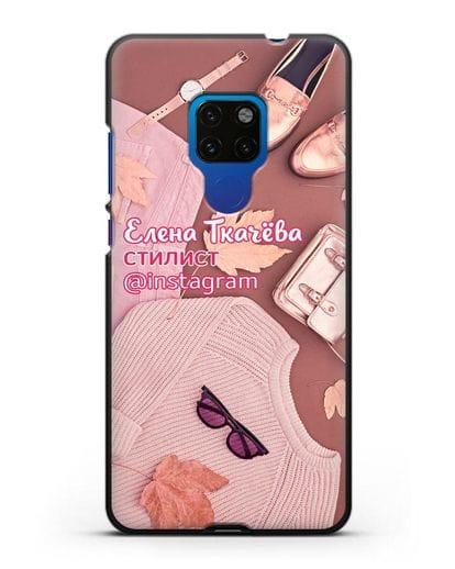 Чехол с изображением Стилист с фамилией и профилем инстаграм силикон черный для Huawei Mate 20
