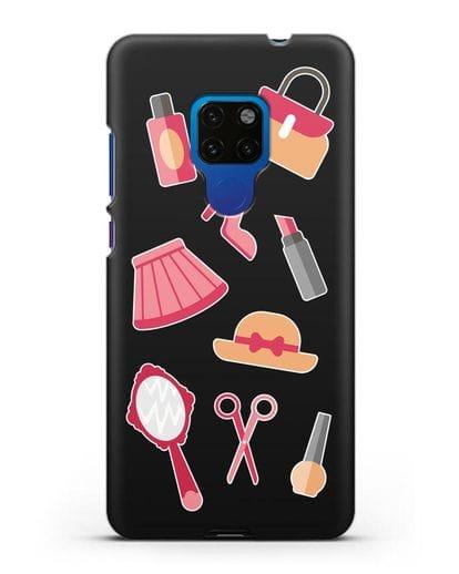 Чехол со стикерами Модные аксессуары силикон черный для Huawei Mate 20