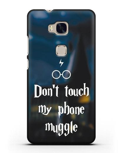 Чехол с надписью Don't touch my phone muggle силикон черный для Honor 5X