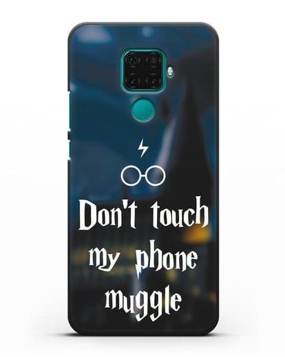 Чехол с надписью Don't touch my phone muggle силикон черный для Huawei Mate 30 Lite