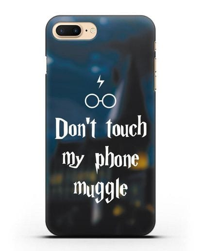 Чехол с надписью Don't touch my phone muggle силикон черный для iPhone 7 Plus