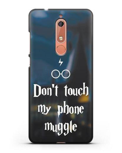 Чехол с надписью Don't touch my phone muggle силикон черный для Nokia 5.1