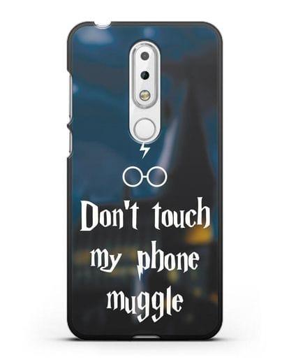 Чехол с надписью Don't touch my phone muggle силикон черный для Nokia 6.1 plus