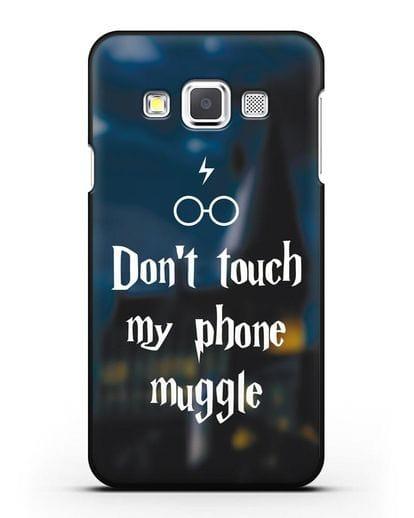 Чехол с надписью Don't touch my phone muggle силикон черный для Samsung Galaxy A3 2015 [SM-A300F]
