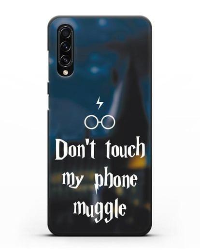 Чехол с надписью Don't touch my phone muggle силикон черный для Samsung Galaxy A70s [SM-A707F]