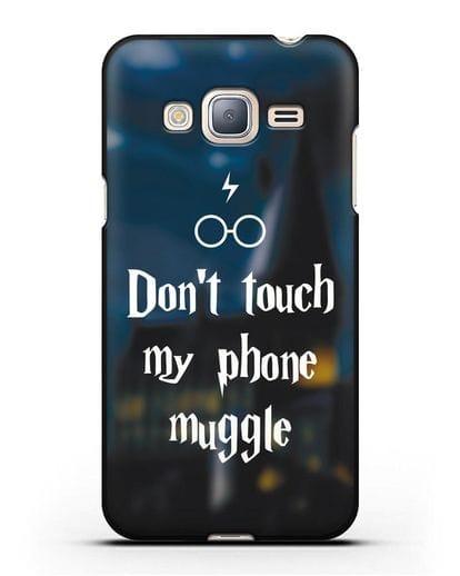 Чехол с надписью Don't touch my phone muggle силикон черный для Samsung Galaxy J3 2016 [SM-J320F]