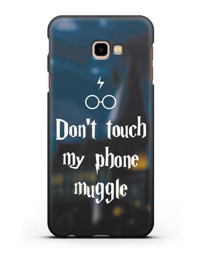 Чехол с надписью Don't touch my phone muggle силикон черный для Samsung Galaxy J4 Plus [SM-J415]