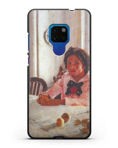 Чехол Девочка с персиками (Серов) силикон черный для Huawei Mate 20