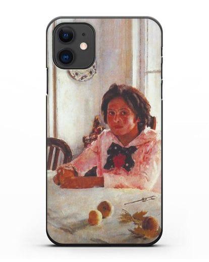 Чехол Девочка с персиками (Серов) силикон черный для iPhone 11