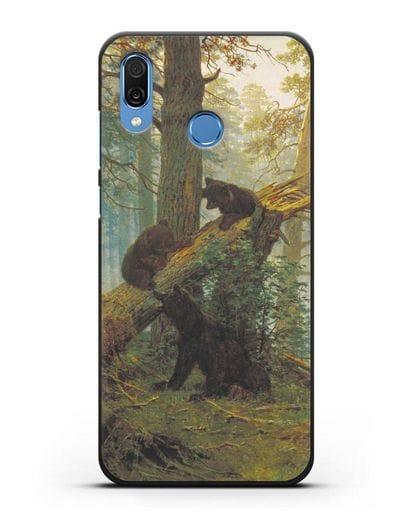 Чехол Мишки на поляне. Утро в сосновом лесу (Шишкин) силикон черный для Honor Play