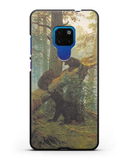 Чехол Мишки на поляне. Утро в сосновом лесу (Шишкин) силикон черный для Huawei Mate 20