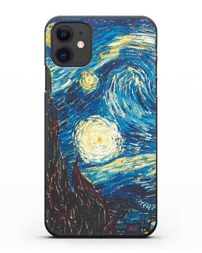 Чехол Звёздная ночь (Винсент ван Гог) силикон черный для iPhone 11