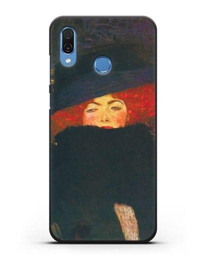 Чехол Дама в шляпке и боа из перьев (Густав Климт) силикон черный для Honor Play