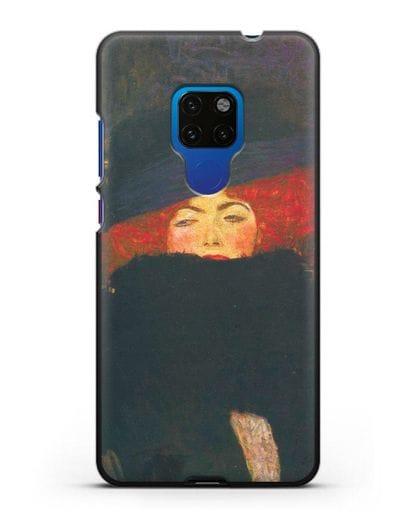 Чехол Дама в шляпке и боа из перьев (Густав Климт) силикон черный для Huawei Mate 20