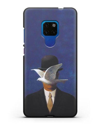 Чехол Человек в котелке (Рене Магритт) силикон черный для Huawei Mate 20
