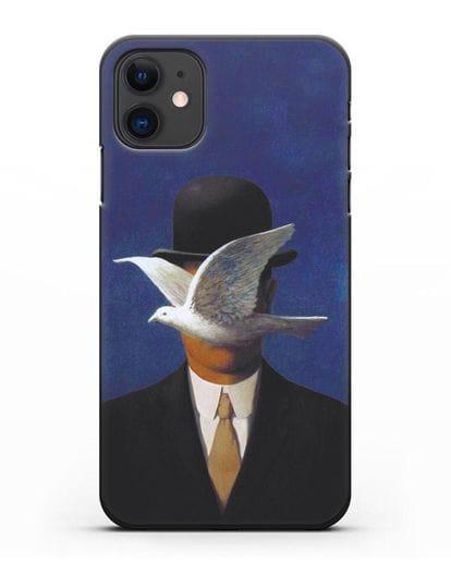 Чехол Человек в котелке (Рене Магритт) силикон черный для iPhone 11