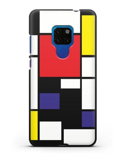 Чехол Красный, желтый, синий и черный (Пит Мондриан) силикон черный для Huawei Mate 20