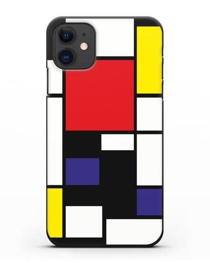 Чехол Красный, желтый, синий и черный (Пит Мондриан) силикон черный для iPhone 11