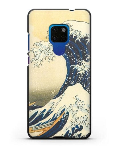 Чехол Большая волна в Канагаве силикон черный для Huawei Mate 20