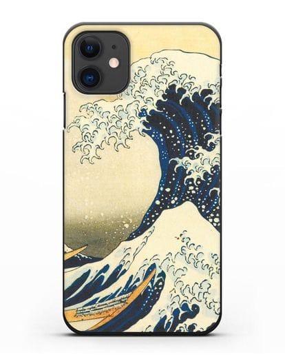Чехол Большая волна в Канагаве силикон черный для iPhone 11
