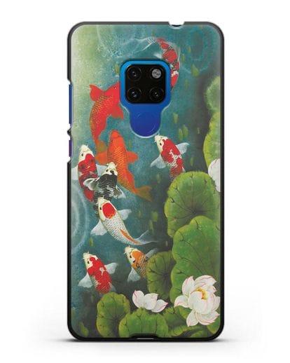 Чехол Японский пруд с карпами силикон черный для Huawei Mate 20