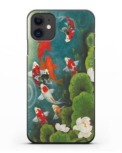 Чехол Японский пруд с карпами силикон черный для iPhone 11