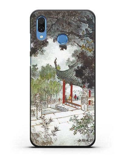 Чехол Китайская живопись силикон черный для Honor Play