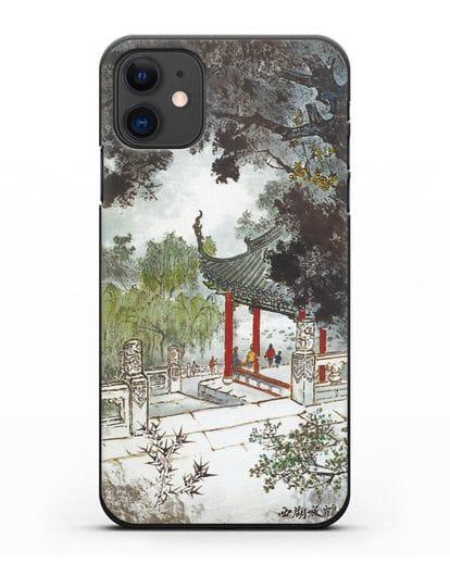 Чехол Китайская живопись силикон черный для iPhone 11