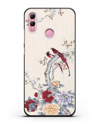 Чехол Цветы и птицы силикон черный для Honor 10 Lite