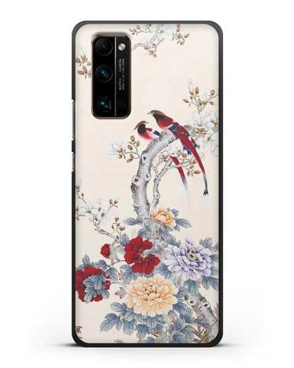 Чехол Цветы и птицы силикон черный для Honor 30 Pro Plus