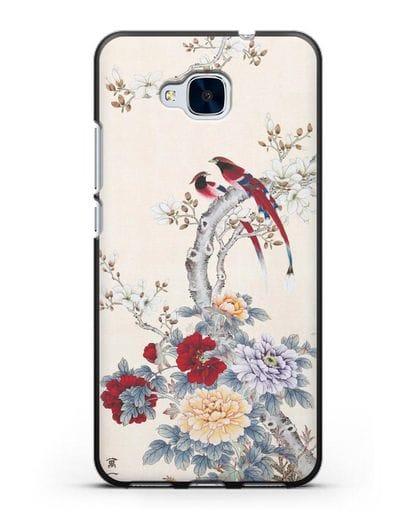 Чехол Цветы и птицы силикон черный для Honor 5C