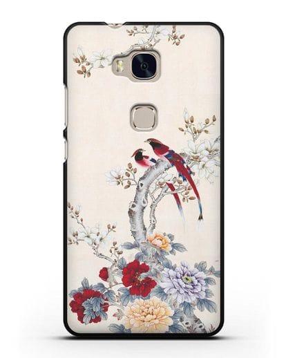 Чехол Цветы и птицы силикон черный для Honor 5X