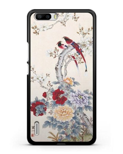 Чехол Цветы и птицы силикон черный для Honor 6 Plus