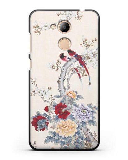 Чехол Цветы и птицы силикон черный для Honor 6C Pro
