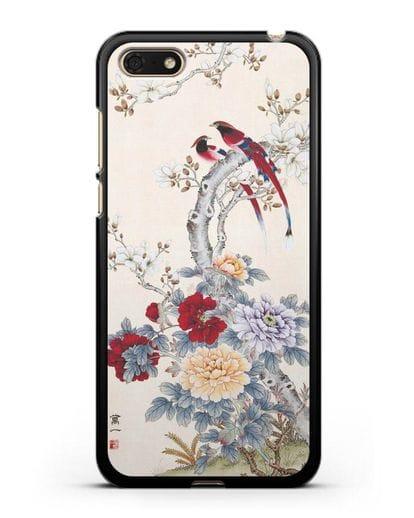 Чехол Цветы и птицы силикон черный для Honor 7А