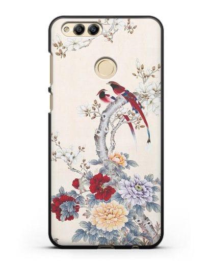 Чехол Цветы и птицы силикон черный для Honor 7X