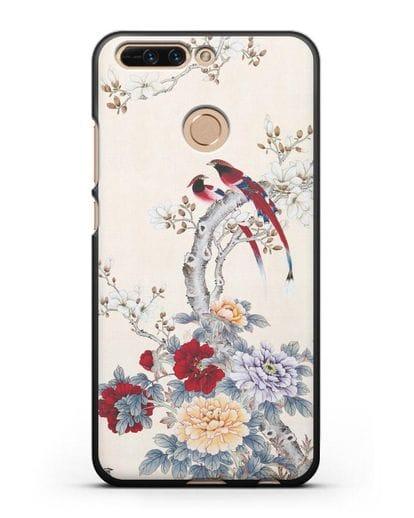 Чехол Цветы и птицы силикон черный для Honor 8 Pro